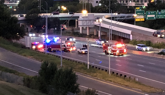 Cincinnati Police and fire departments at a crash on NB I-71 and Reading Road.