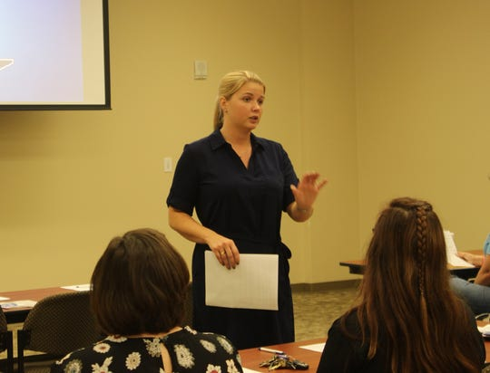 Misty Leitsch of the Tennessee Suicide Prevention Network trains Montgomery County workers on suicide prevention on June 10, 2019.