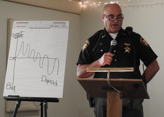 Capt. Dean Hettinger, of the Coshocton County Sheriff's Office, discusses drug crime-related numbers for the sheriff's office and how they have increased from 2015 to today. He spoke at a seminar on opioids held Thursday at the  M Event Center.
