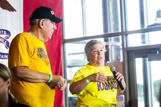 Sue Dvorsky, right, and Bob Dvorsky introduced Democratic presidential candidate U.S. Sen. Kamala Harris, D-Calif., during a campaign event, Thursday, Sept., 19, 2019, at Backpocket Brewing in Coralville, Iowa.