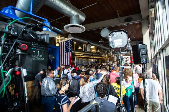 Democratic presidential candidate U.S. Sen. Kamala Harris, D-Calif., speaks during a campaign event, Thursday, Sept., 19, 2019, at Backpocket Brewing in Coralville, Iowa.