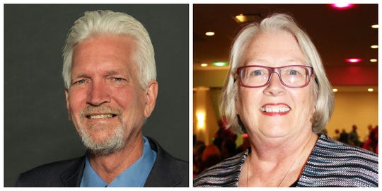 Des Moines City Council Ward 2 candidates Skip Moore and Linda Westergaard.