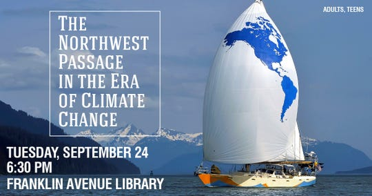 David Thoreson will be at the Franklin Avenue Library on Tuesday at 6:30 p.m. to talk about his voyages in the Northwest Passage.