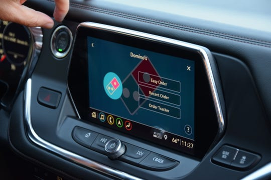 Chevy Blazers come with the GM Marketplace system of apps for shopping and more. The system also the  Domino's Pizza so you can order dinner from the vehicle.