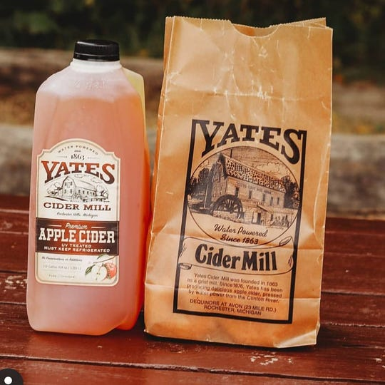 Apple cider and doughnuts at Yates Cider Mill in Rochester Hills