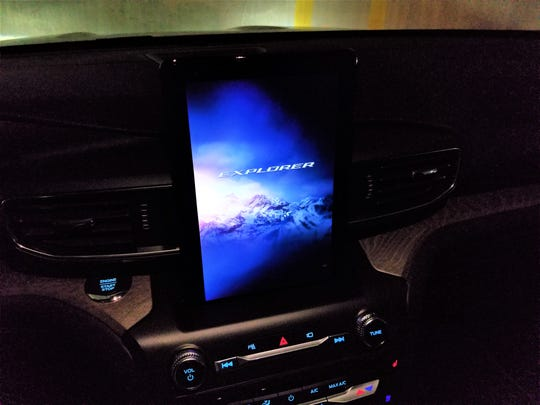 Ford Explorer's 10-inch vertically oriented LCD tablet touchscreen is a step up from its previous screen offerings.