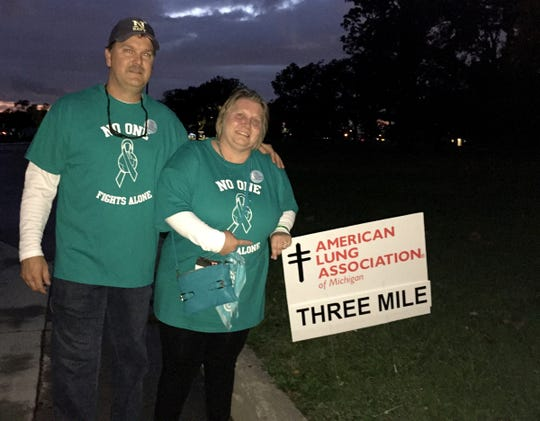 Debbie Pickworth of Garden City takes part in a previous year's American Lung Association Lung Force Walk with her husband, Bryan Pickworth, to raise money and awareness about lung cancer. She has stage IV lung cancer.