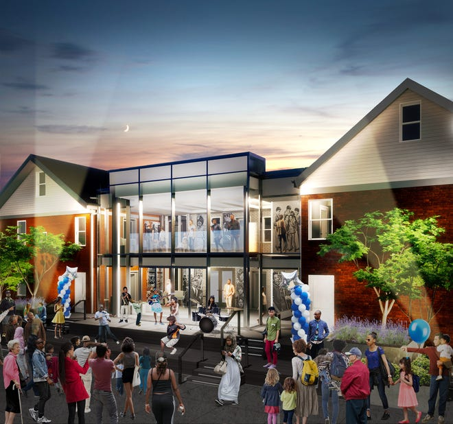 This newly supplied architectural rendering from the Motown Museum shows Hitsville Next, the first phase of expansion at the West Grand Boulevard site in Detroit.