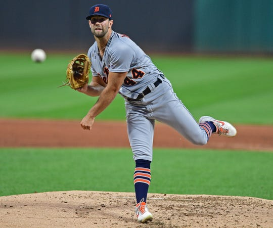 Tigers starting pitcher Daniel Norris (44) throws a pitch during the first inning against the Cleveland Indians at Progressive Field on Sept. 19, 2019.