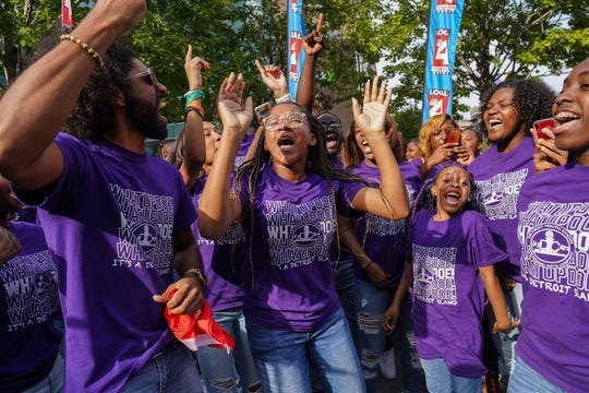 """Members of the Detroit Youth Choir celebrate before leaving their homecoming celebration at Campus Martius in downtown Detroit on Friday, September 20, 2019 after they finished second place in """"America's Got Talent."""" The group was given a $1 million endowment for the choir from several Detroit-based foundations and local business leaders."""