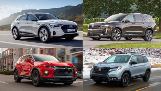 ...The Audi E-Tron, clockwise from top-left, Cadillac XT6, Honda Passport and Chevrolet Blazer...