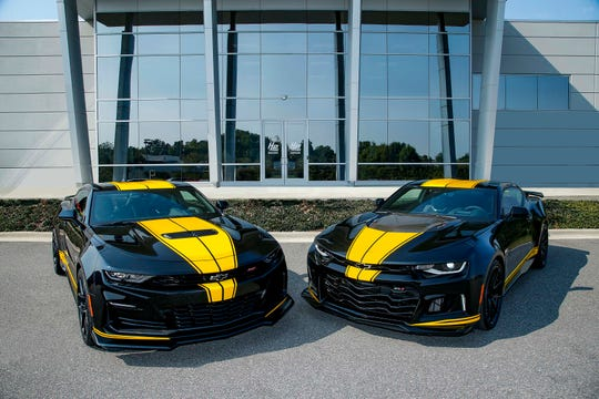 Hertz is teaming up with Hendrick Motorsports to rent the Chevrolet Camaro SS, left, and ZL1.