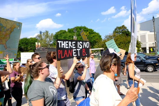 "Sign reading, ""There is no planet B"" at the Detroit Global Climate Strike on Sept. 20, 2019."