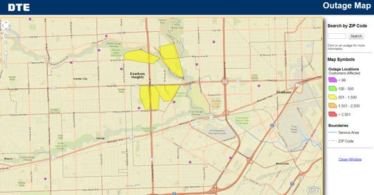 DTE Energy reported several power outages Friday, affecting large stretches of Telegraph Road in Dearborn Heights