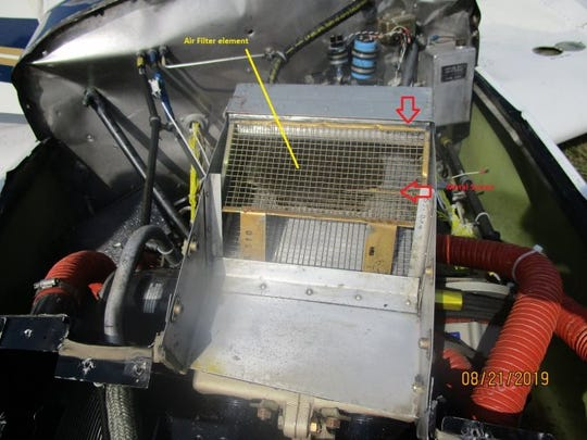 Investigators found that the plane's air filter got sucked into the engine, blocking air flow.