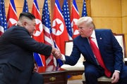 In this June 30, 2019, file photo, President Donald Trump meets with North Korean leader Kim Jong Un at the border village of Panmunjom in the Demilitarized Zone, South Korea.