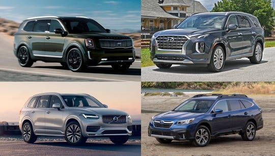 ...The Kia Telluride, clockwise from top-left, Hyundai Palisade, Subaru Outback and Volvo V60 Cross Country.
