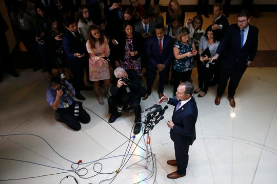 Rep. Adam Schiff, D-Calif., chairman of the House Intelligence Committee, speaks with reporters about a whistleblower complaint Thursday, Sept. 19, 2019, on Capitol Hill in Washington. Schiff says he cannot confirm a press report that said a whistleblower's complaint concerned a promise President Donald Trump made on a phone call to a foreign leader.