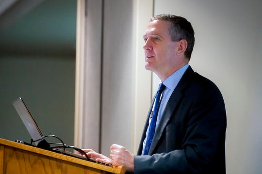 In this Friday, July 20, 2018 file photo, James Bullard, chief executive officer and president of the Federal Reserve Bank of St. Louis, speaks in Glasgow, Ky. Bullard dissented from the September 2019 quarter-point rate cut in favor of a bigger half-point cut.