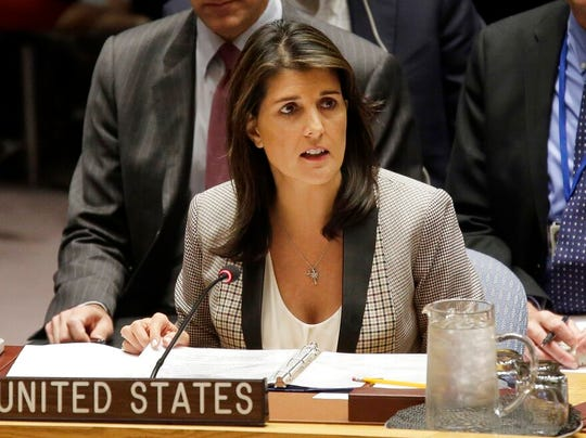 In this Monday, Nov. 26, 2018 file photo, United States Ambassador to the United Nations Nikki Haley speaks during a security council meeting.  Haley is moving back to her native South Carolina, re-establishing a home base and also fueling speculation that a return to politics is next on her to-do list.
