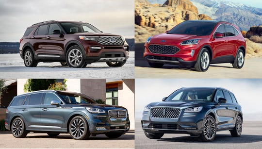 The 2020 utility nominees include the Ford Explorer, clockwise from top-left, Ford Escape, Lincoln Corsair, and Lincoln Aviator.