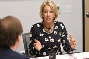 U.S. Secretary of Education Betsy DeVos addresses question from the Detroit News editorial board on Friday, Sep. 20, 2019, as part of her Back To School Tour.