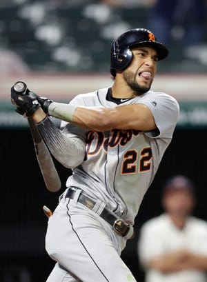 Detroit Tigers' Victor Reyes reacts after striking out in the ninth inning on Thursday.