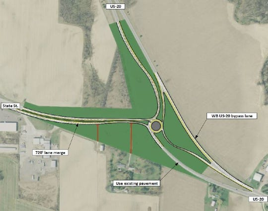 Proposed roundabout to mitigate crashes at U.S. 20 and County Road 198.