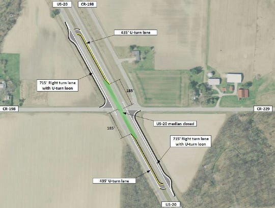 A J-Turn proposal could offset fatal crashes at County Road 198 and U.S. 20 by forcing right turns only at County Road 198 and County Road 229.