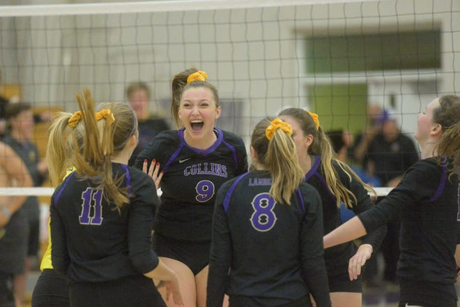 Ella Steensma (9) and her Fort Collins High School volleyball teammates, shown celebrating a point in a Sept. 19 match against Fossil Ridge, host cross-town rival Poudre at 6:30 p.m. Wednesday.