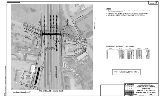This 2018 proposed plan uses satellite imagery and construction designs to show how a steel pedestrian bridge would span nine Norfolk Southern railroad tracks at Hampton Avenue in Greenville. A North Carolina contractor will start work on the $1.43 million project in October 2019, according to county officials.