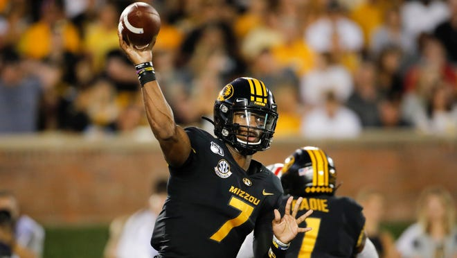 Missouri quarterback Kelly Bryant during an NCAA football game against SEMS on Saturday, Sept. 14, 2019 in Columbia, Mo. (AP Photo/Colin E. Braley)