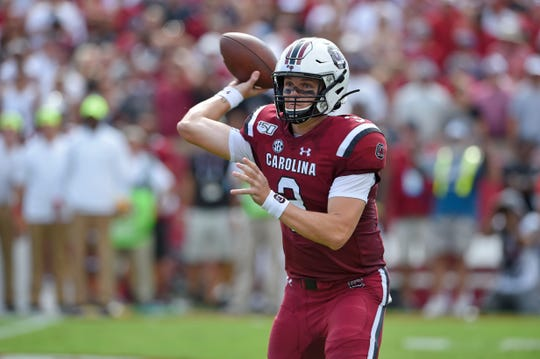 South Carolina quarterback Ryan Hilinski throws a pass during the first half of an NCAA college football game against Alabama Saturday, Sept. 14, 2019, in Columbia, S.C. (AP Photo/Richard Shiro)