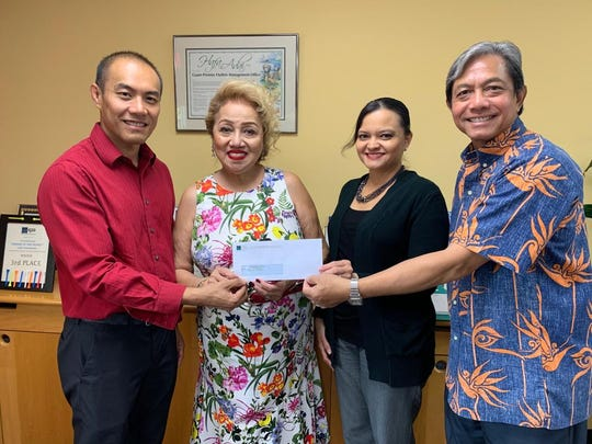 GPO donated $3000 to the American Red Cross on Sept. 5 for their annual Red Ball. The event raises funds for the American Red Cross Guam Chapter. Present at the check presentation were Marcos Fong, ARC Guam Chapter Board chairman; Chita A. Blaise, ARC Guam chapter chief executive officer; Suzanne Perez, GPO director of marketing and operations; and Monte Mesa, GPO general manager.