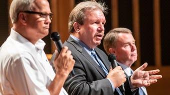 Key moments at Indianapolis Mayoral Forum with Mayor Joe Hogsett, D-Indianapolis; Libertarian candidate Douglas McNaughton and State Sen. Jim Merritt.