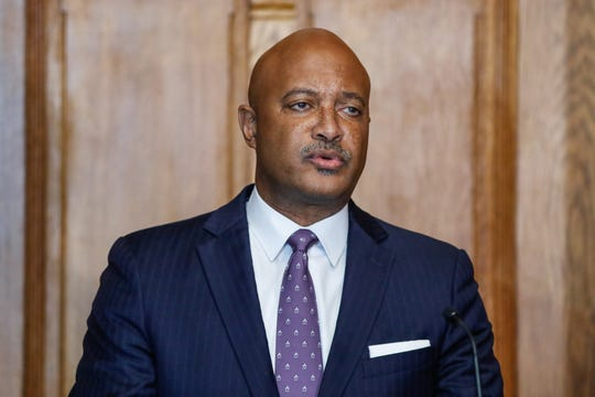 Indiana Attorney General Curtis Hill holds a press conference regarding the finding of more than 2,000 fetal remains in the Illinois home of deceased former Indiana abortion doctor,  Ulrich Klopfer, at the Indiana Statehouse on Friday, Sept. 20, 2019.