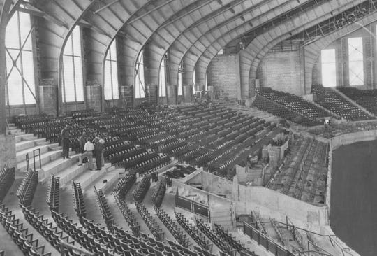 Finishing touches were shown being added to the Indiana State Fairgrounds Coliseum on Sept. 1, 1939.