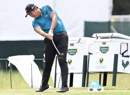 Byeong Hun An tees off on the 9th hole at the Sanderson Farms Championship on Friday, September 20, 2019, at the Country Club of Jackson in Jackson, Miss.