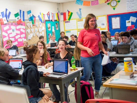 South-Doyle High teacher Katie McNamara is surprised with a check for a $3,300 Great Schools Partnership grant in her classroom Sept. 20, 2019.
