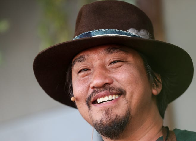 Chef Edward Lee cooks on the Better in the Bluegrass stage at Bourbon & Beyond on Sept. 20, 2019