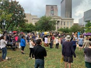 About 200 people gathered during the Youth Climate Strike in downtown Louisville on Friday, Sept. 20, 2019.