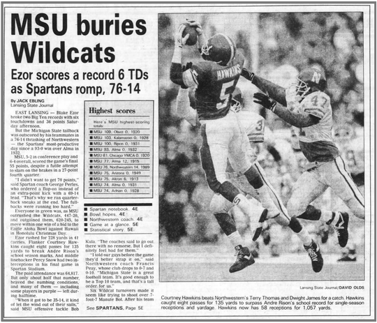 The Lansing State Journal sports section cover on Nov. 19, 1989 captured the Spartans' 76-14 win over Northwestern.