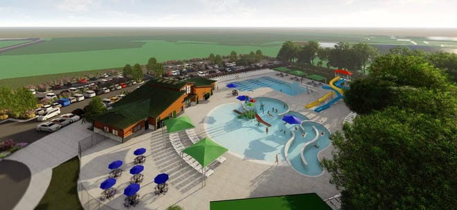 An artist's rendering shows what Marshfield's aquatic center, Vandehey Waters, will look like.