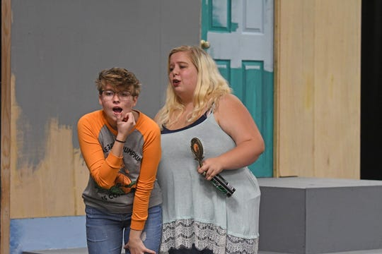 "Jacqueline Beaver and Courtney Hardy rehearse a scene from ""Connected"" on Thursday."