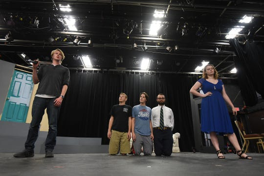 "The cast of ""Connected"" rehearse Thursday evening at Ohio State University at Mansfield. The play can be seen Sept. 27-30."