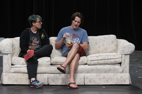 "Cameron Baker and Deken Foster rehearse a scene from ""Connected."""