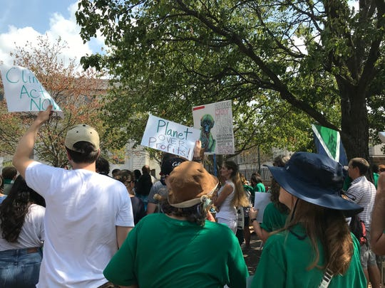 Sept. 20, 2019: Close to 100 people gathered in front of City Hall in Memphis as part of a worldwide climate strike led by youth activists.
