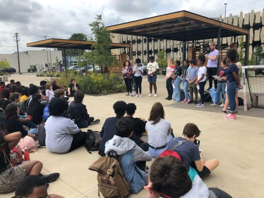 Crosstown student leaders read a letter to administration. But students at the town hall with administrators emphasized that what they want to see is a stronger student culture and more student representation.