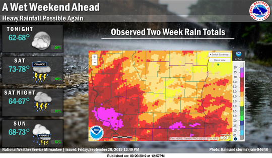 Parts of southern Wisconsin have received huge amounts of rain during the past two weeks. More heavy rain is possible during the coming weekend.