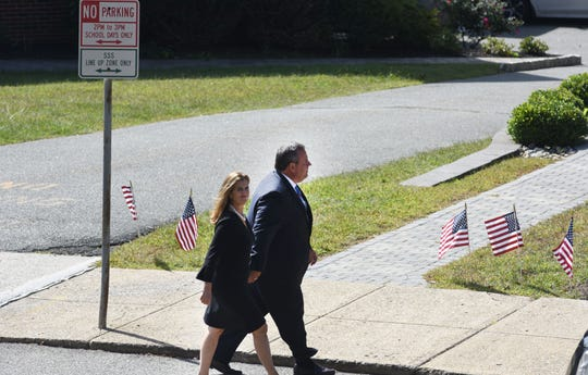 Former NJ Gov. Chris Christie and wife Mary Pat Christie, arriving to Sen. Anthony Bucco's funeral on Sept. 20, 2019 in Boonton.